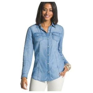 Chico's Button Down Long Sleeve Chambray Shirt